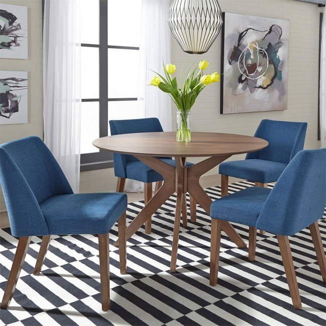 Stupendous Space Savers Round Dining Room Set W Blue Chairs Alphanode Cool Chair Designs And Ideas Alphanodeonline