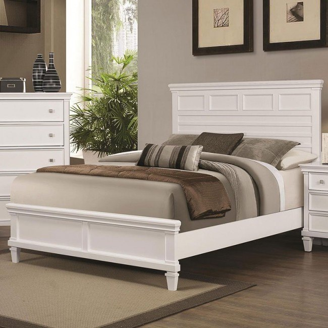 Camellia Panel Bed (White)
