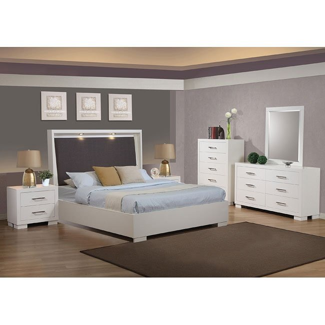 Jessica White Upholstered Platform Bedroom Set