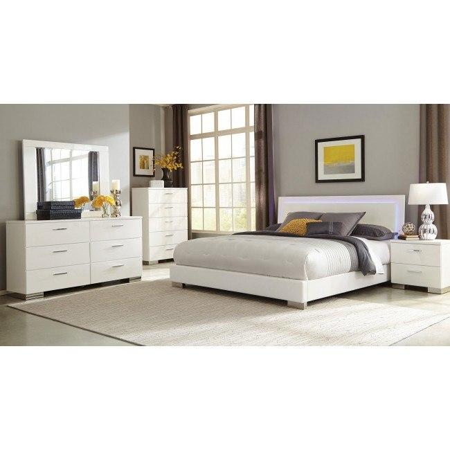 Felicity Low Profile Bedroom Set w/ LED Light
