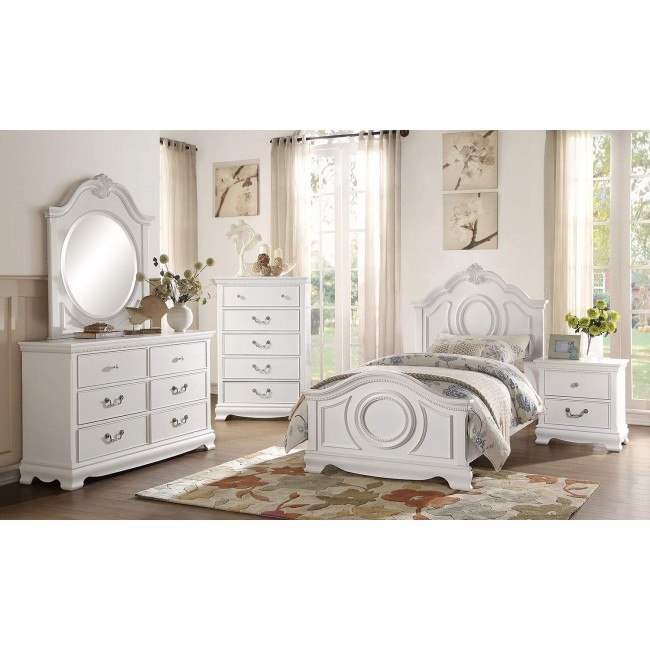 Lucida Youth Panel Bedroom Set (White)