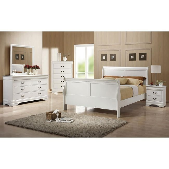 Louis Philippe Youth Bedroom Set (White)