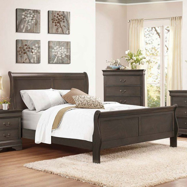 Mayville Sleigh Bed (Stained Grey)