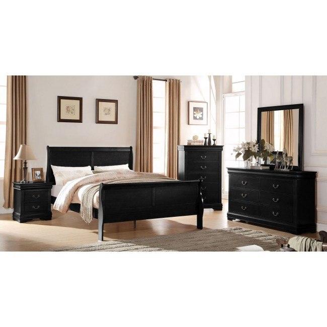 Louis Philippe Sleigh Bedroom Set (Black)