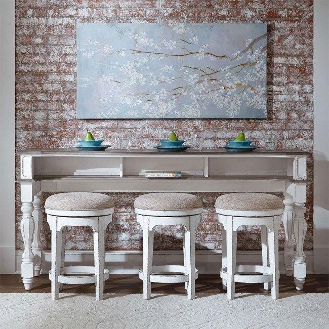 Magnolia Manor Console Bar Table w/ Swivel Stools