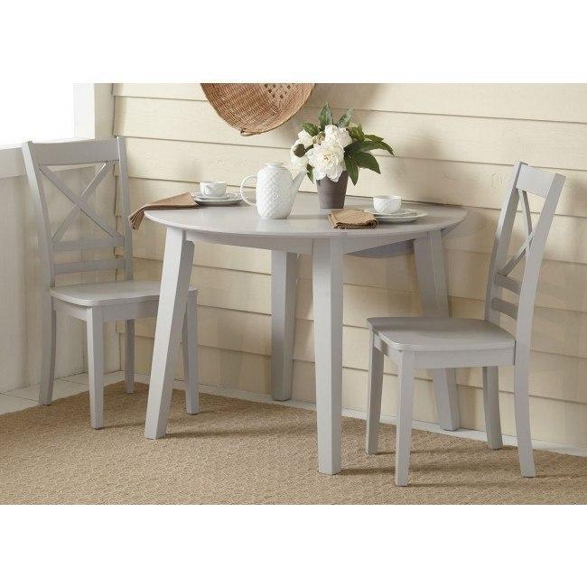 Simplicity Round Drop Leaf Dining Room Set (Dove)