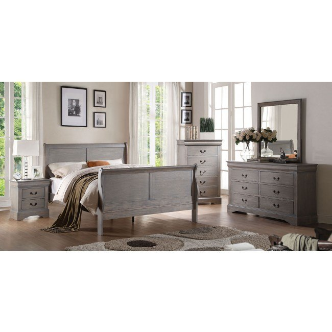 Louis Philippe III Youth Sleigh Bedroom Set (Gray)