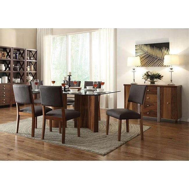 Aria Dining Room Set w/ Brown Chairs