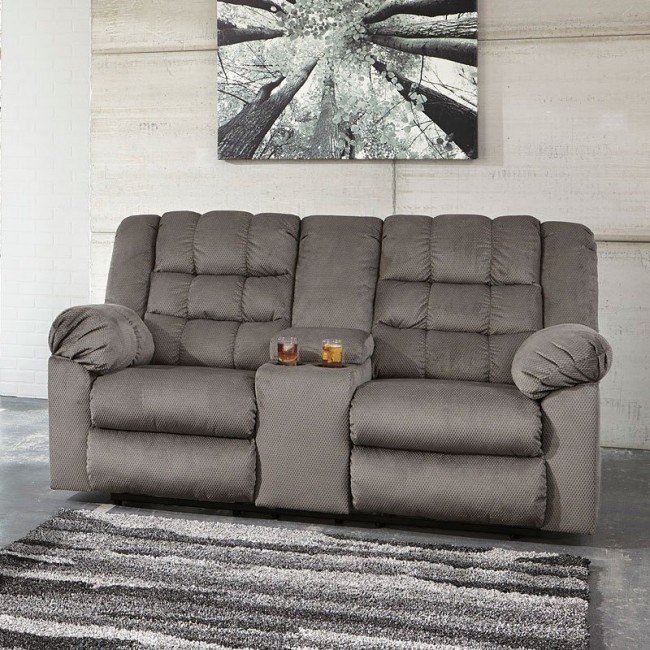 Mort Charcoal Reclining Loveseat w/ Console