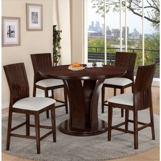 Daria Counter Height Dining Set w/ White Chairs