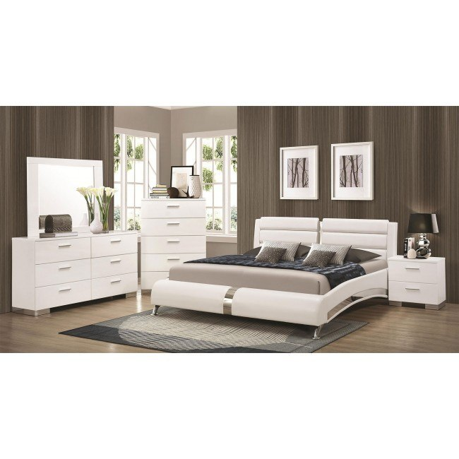 Felicity Bedroom Set w/ Jeremaine Bed (White)