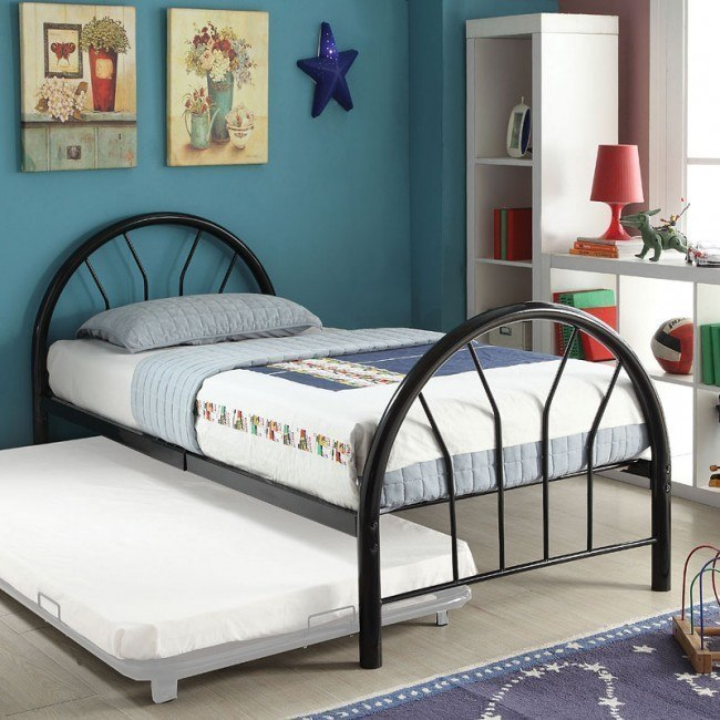 Silhouette Twin Metal Panel Bed (Black)