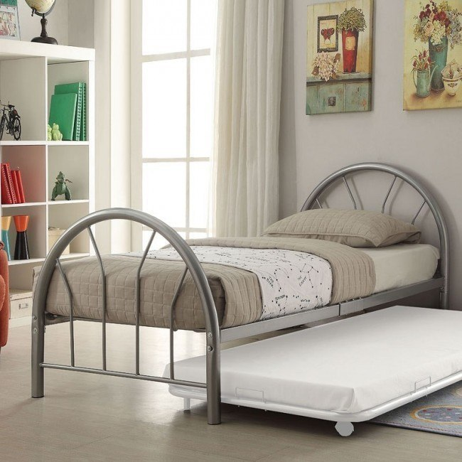 Silhouette Twin Metal Panel Bed (Silver)