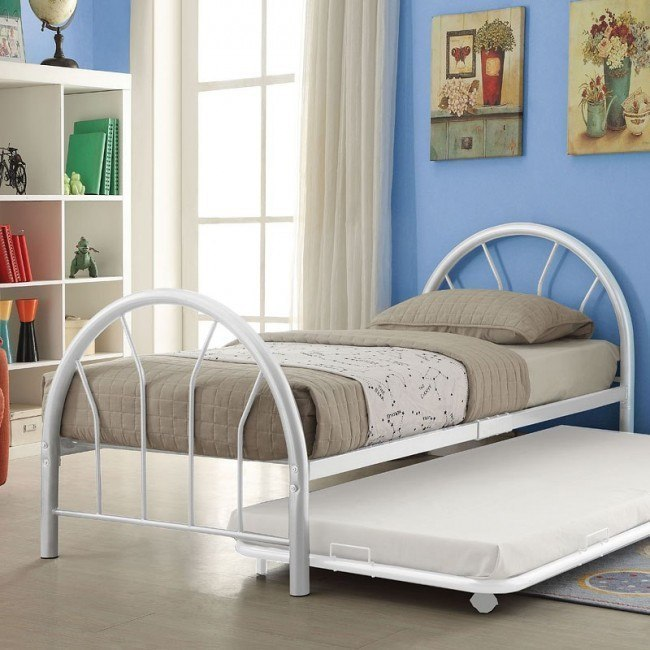Silhouette Twin Metal Panel Bed (White)