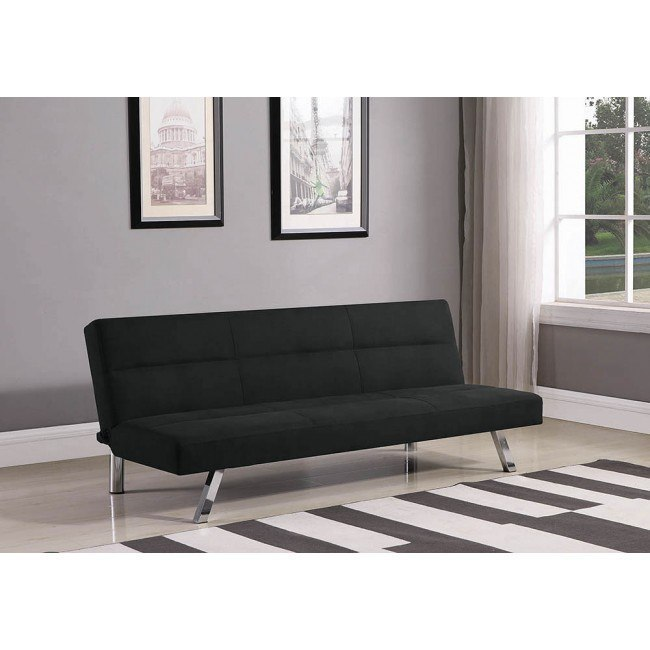 Black Fabric Sofa Bed w/ Chrome Legs