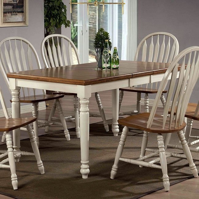 Antique White And Oak Rectangular Dining Table By ECI