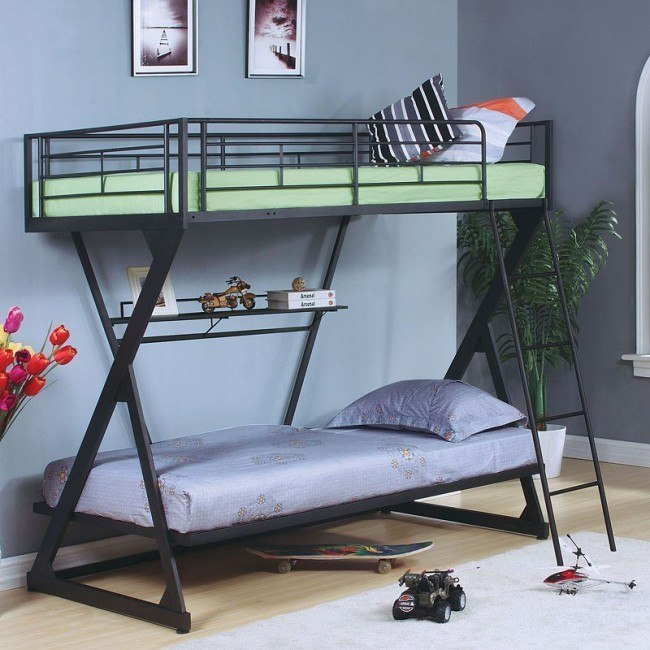 Zazie Twin Bunk Bed w/ Bookshelf