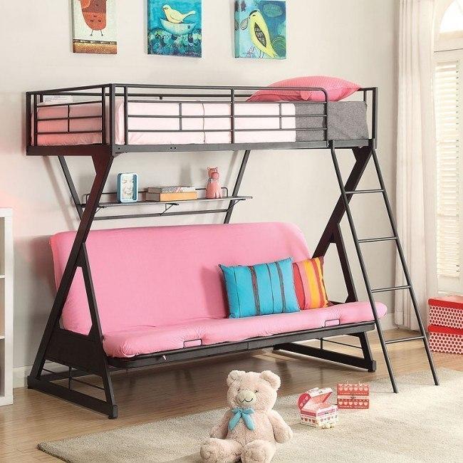 Zazie Twin over Full Futon Bunk Bed w/ Bookshelf