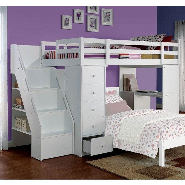 Freya Loft Bed w/ Bookshelf Ladder