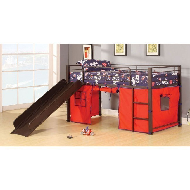 Willie Loft Bed w/ Slide and Tent