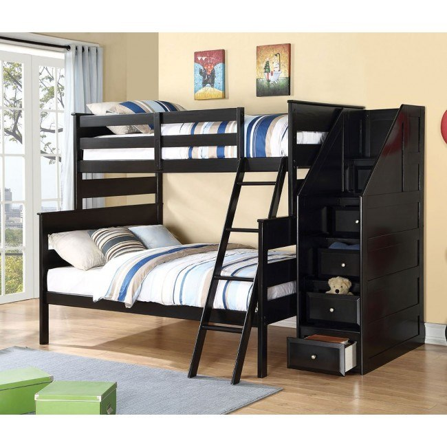 Alvis Twin over Full Bunk Bed w/ Storage Ladder