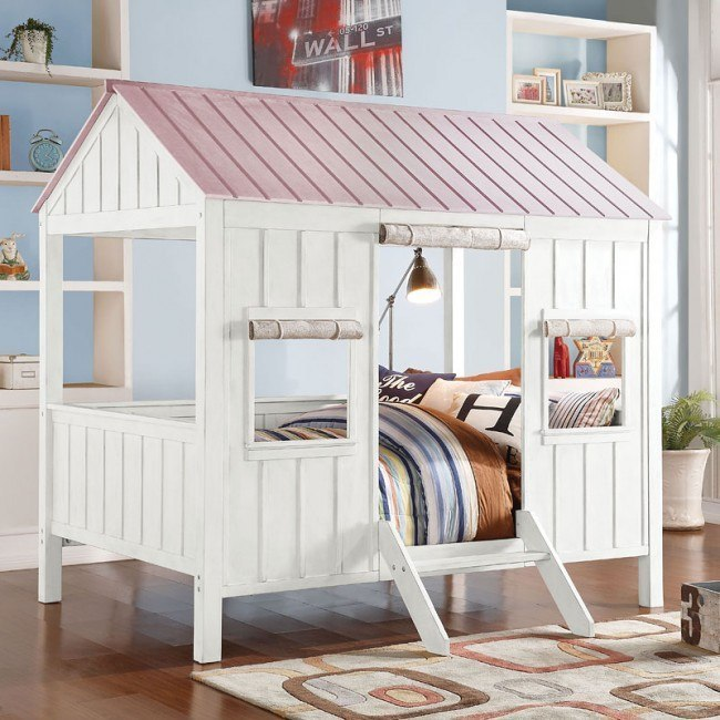 Spring Cottage Full Bed (White/Pink)