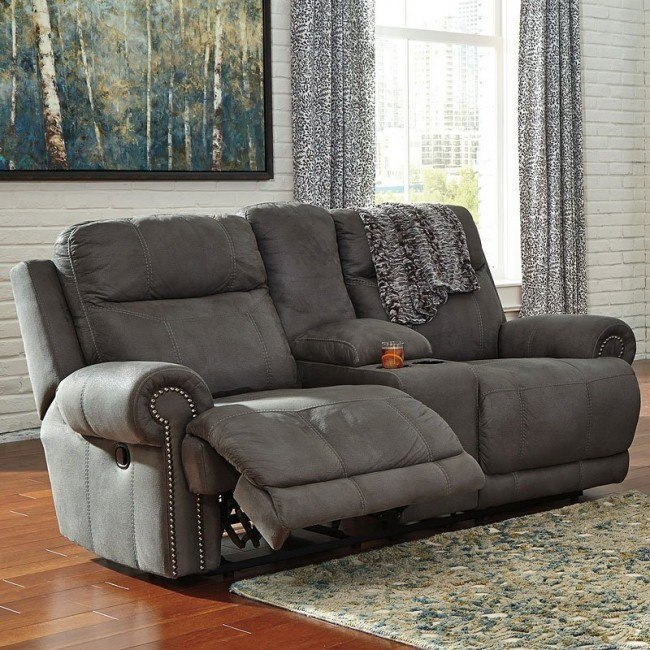 Austere Gray Double Power Reclining Loveseat w/ Console