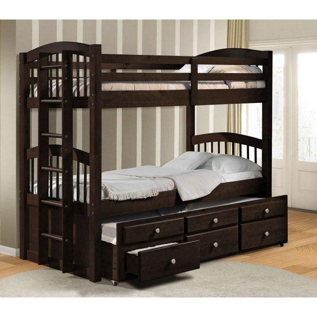 Micah Twin Bunk Bed w/ Trundle (Espresso)