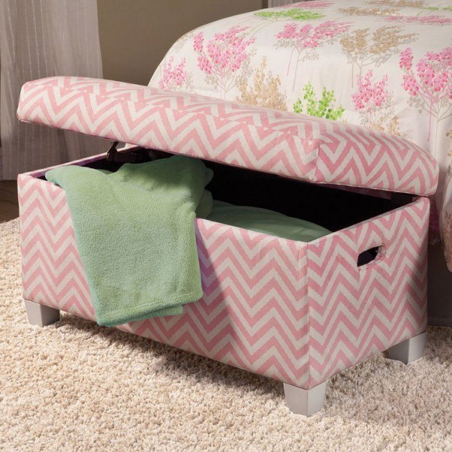 Storage Bench (Pink/White)