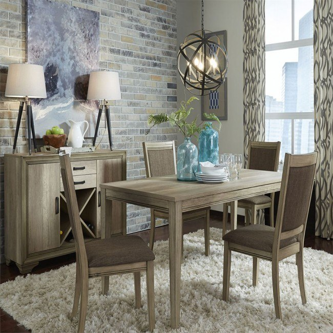 Sun Valley 60 Inch Rectangular Dining Set W Upholstered Chairs