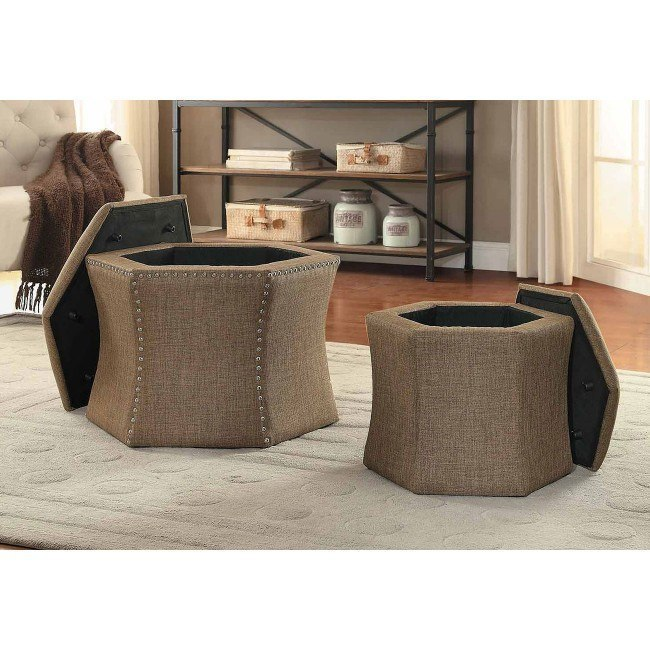 Kennelly 2-Piece Storage Ottoman Set (Brown)