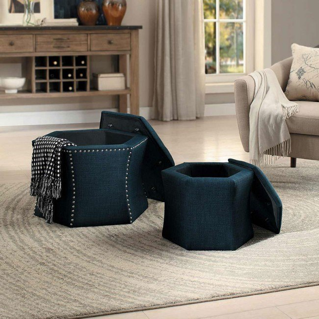 Kennelly 2-Piece Storage Ottoman Set (Blue)