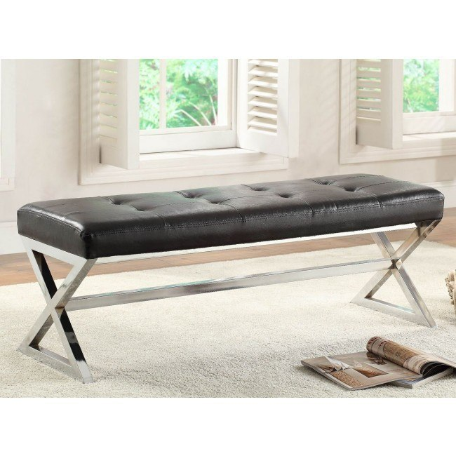 Rory Bench w/ X-Base (Black Bonded Leather)