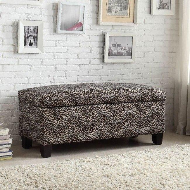 Clair Lift Top Storage Bench (Leopard)