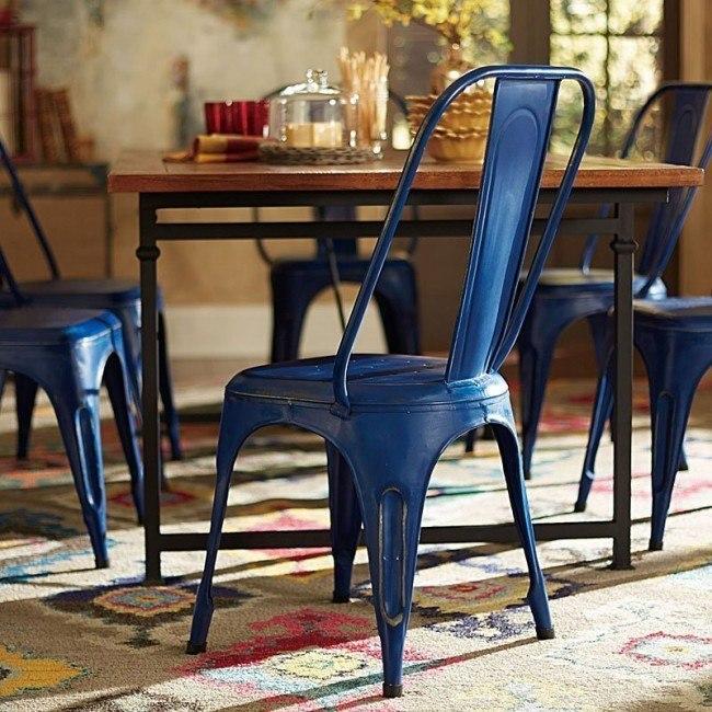 Amara Metal Side Chair (Blue) (Set of 4)