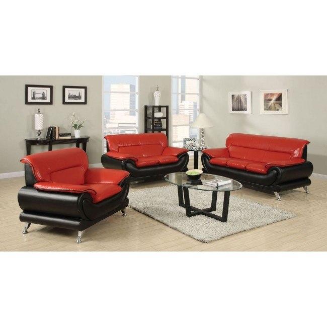 Orel Living Room Set (Red and Black)