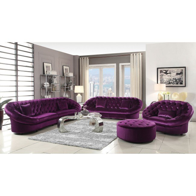 Romanus Living Room Set (Purple)