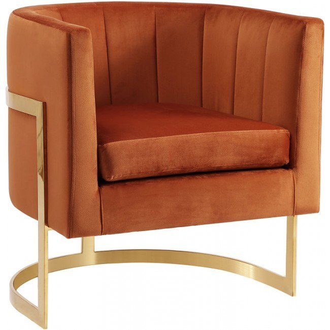 Miraculous Carter Velvet Accent Chair Cognac Machost Co Dining Chair Design Ideas Machostcouk