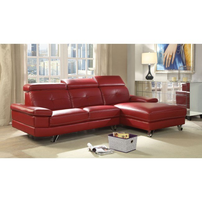 Aeryn Left Facing Sofa Sectional (Red)