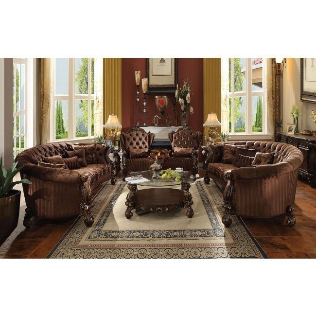 Versailles Crescent Living Room Set (Brown Velvet)
