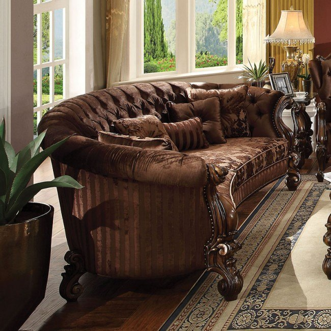 Versailles Crescent Sofa (Brown Velvet)
