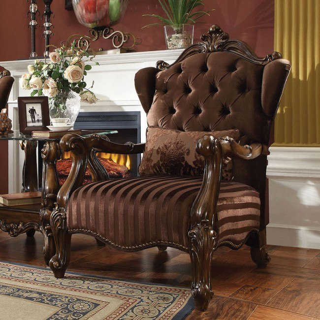 Versailles Wingback Arm Chair (Brown Velvet)