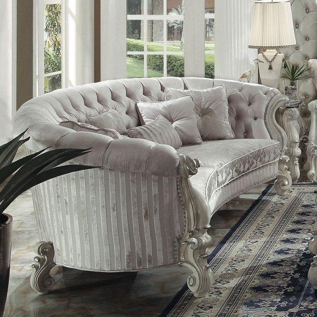 Versailles Crescent Sofa (Ivory Velvet)