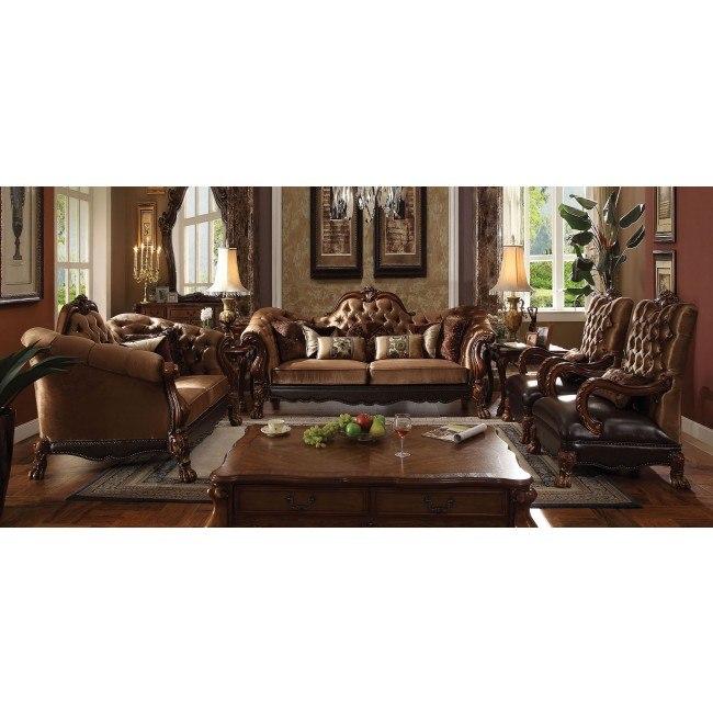 Dresden Living Room Set (Golden Brown Velvet)
