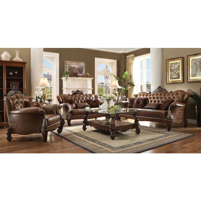 Versailles Living Room Set (Light Brown PU)