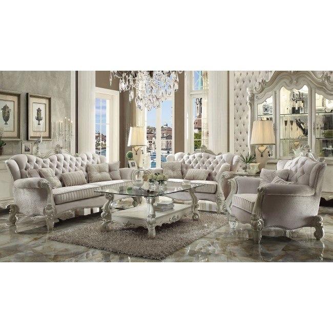 Versailles Living Room Set (Ivory Velvet)