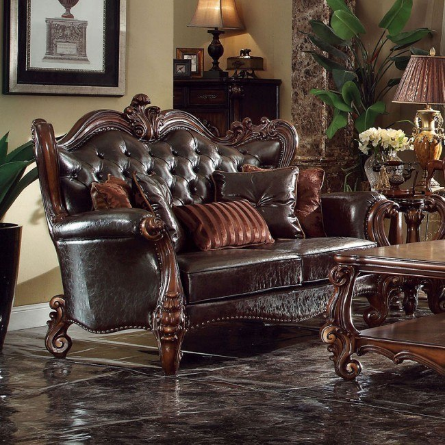 Versailles Loveseat (Dark Brown PU)