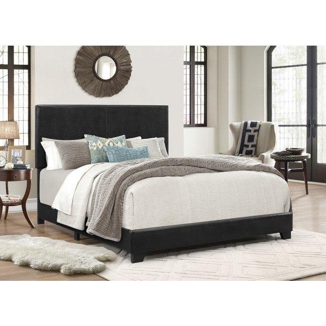 Erin Upholstered Bed (Black)