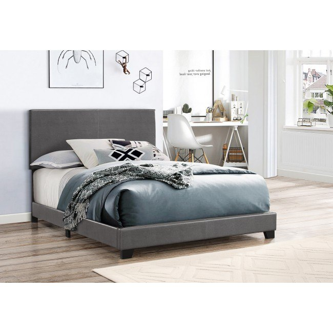 Erin Youth Upholstered Bed (Dark Grey)