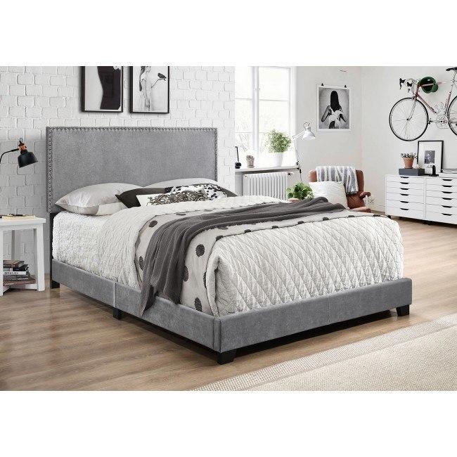Erin Velvet Upholstered Bed (Grey)